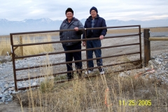 GENE HAYCOCK AND JERRY COKELY AFTER INSTALLING WEST HALF OF 12 FOOT WIDE ENTRANCE GATE.