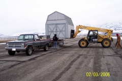 LOADING SHED ONTO FLATBED TRAILER. THANKS ARLYN BRENCHLEY FOR THE BORROWED TRUCK AND TRAILER.