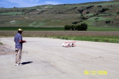 ECKERT IS FIRST TO FLY OFF THE ROADBASE COVERED RUNWAY.