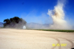MAJOR DUST DEVIL (MINI TORNADO) VISITS THE NEW FIELD.