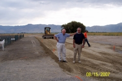 LEE COLSTON AND BOB ECKERT MAKE SURE THE GRADING IS DONE PROPERLY.