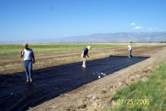 THE FIRST SECTION OF WEED BARRIER MATERIAL IS LAID BY IVAN HOOLEY, LEE COLSTON AND BOB ECKERT.